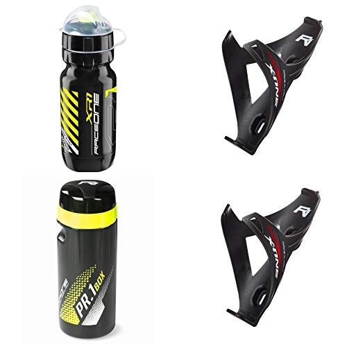 100/% MADE IN ITALY : Borraccia XR1 Raceone KIT Race X1M Portaborraccia X1M ToolBox PR1 ideale per Bici Race//MTB//Gravel//Trekking Bike Colore: Bianco//Nero 4 PCS