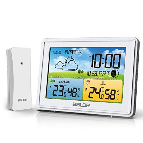 BALDR Wetterstation Funk mit Außensensor, Innen Außenthermometer Hygrometer, Digitaler Temperatur Feuchtigkeitsmonitor mit Wettervorhersage, Alarm & Schlummerfunktion, Komfortsymbole (Weiß)