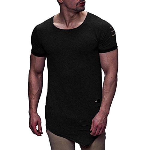 VEMOW Sommer Mode Persönlichkeit Loch männer Casual Schlank Kurzarm Shirt Top Bluse (Schwarz, 56 DE/XL CN)