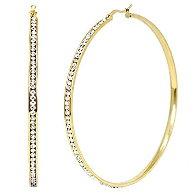 Me Plus Women Girls Fashion Stainless Steel Hoop Earring Clear Color Rhinestones Silver and Gold Tone (Round-Clear Stones 70mm - Gold)