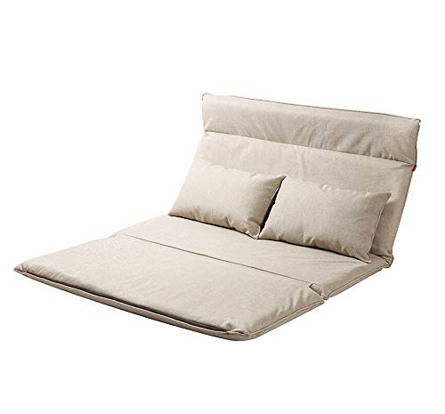 ZYLE Multifunctional Sofa Bed Lazy Couch Japanese Tatami Bedroom Study Double Folding Chair 132×197cm (Color : Beige)