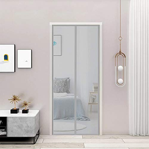 CGUOZI Magnetic Screen Door,75x240cm(30x94inch) Mute Automatica Top,to,Bottom Seal Keep Insects Out, No Drilling for French, Sliding Doors,Gray