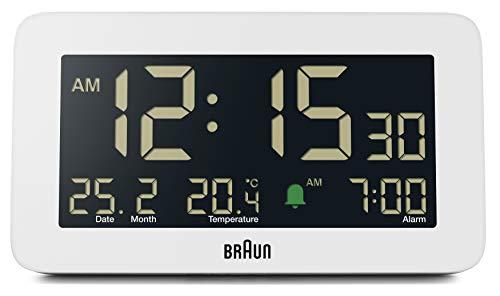 Braun Reloj despertador digital con fecha, mes y temperatura, pantalla LCD negativa, set rápido, alarma de pitido Crescendo en blanco, modelo BC10W.