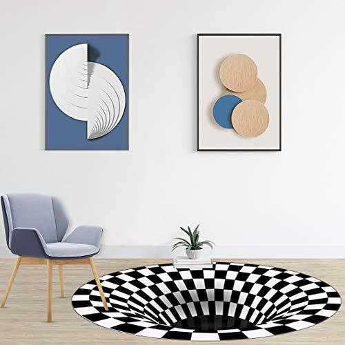 Wishstar 3D Illusion Teppich, Optischer Täuschungsteppich Teppich, Runder Mandala-Teppich Für Wohnzimmer Schlafzimmer Flur Läufer Esszimmer Teppich Fußmatte Anti-schlittern Non Shedding