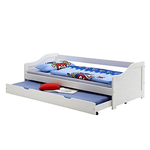 IDIMEX Funktionsbett Lisa Funktionsliege Jugendbett mit Schubladenbett Kiefer weiß 90 x 200 cm (B x L) mit 2 Lattenroste