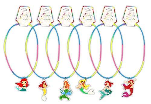 DISOK - Lote 24 Collares Sirenitas para Las niñas. Bisutería Infantil como Detalles para Las comuniones, Fiestas y cumpleaños. Collares