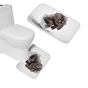 Amagical Elephant Pattern 2 Piece Bathroom Mat Set Non-Slip Bathroom Mat Contour Mat