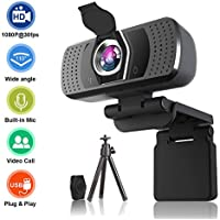 Electype 1080p HD Webcam with Microphone, Privacy Cover and Tripod
