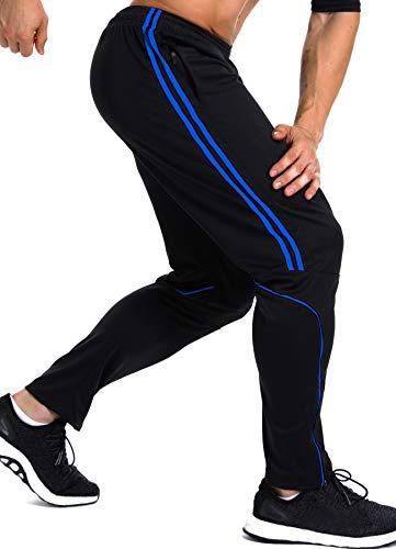 INSTINNCT Herren Lange Trainingshose Sport Jogging Hose Sweatpants mit Reißverschlusstasche Streifen (Blau) XL