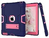 HyFone Funda para iPad 2 3 4 - Robusto Anti Caída Duradero Resistente Protector de Cuerpo Completo Case Cover para iPad A1395 A1396 A1397 A1416 A1430 A1403 A1458 A1459 A1460 - [Azul Marino/Rosa Roja]