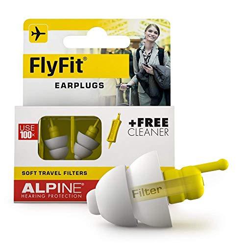 Alpine FlyFit Gehörschutz Ohrstöpsel für Flugzeuge - Regulieren den Luftdruck zur Vorbeugung von Trommelfellschmerzen - Weiche Filter für Reisen - Bequemes hypoallergenes Material - Wiederverwendbar