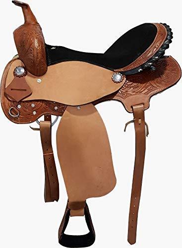 Cwell Equine Sillín de Piel Estilo Western de Barril Racing/Pleasure, elección de tamaños (40,6 cm), L