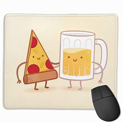 Cartoon Pizza und Bier rutschfeste personalisierte Designs Gaming Mauspad Schwarzes Stoff Rechteck Mousepad Art Naturkautschuk Mausmatte mit genähten Kanten