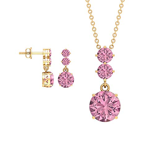 Rosec Jewels 14 quilates oro amarillo redonda Pink Tourmaline