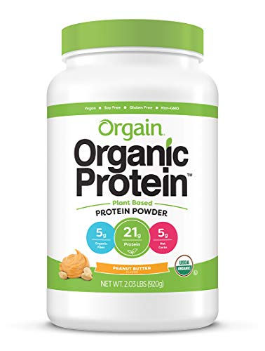 Orgain Organic Plant Based Protein Powder, Peanut Butter - Vegan, Low Net Carbs, Non Dairy, Gluten Free, Lactose Free, No Sugar Added, Soy Free, Kosher, Non-GMO, 2.03 Pound (Packaging May Vary)
