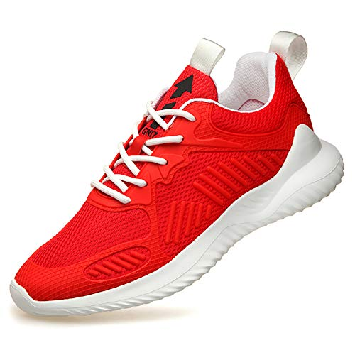 WYZDQ Hombre Transpirable Entrenadores de Correr Zapatillas de Deporte Gimnasio Gimnasio Deporte Zapatos Ligeros Ocasional Trabajando Trotar Zapatos para Caminar al Aire Libre,Rojo,US9.5 / UK8.5
