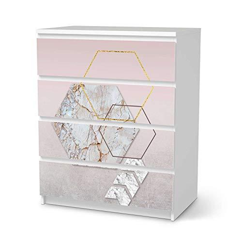 creatisto Möbeltattoo passend für IKEA Malm Kommode 4 Schubladen I Möbelaufkleber - Möbel-Folie Tattoo Sticker I Wohn Deko Ideen für Esszimmer, Wohnzimmer - Design: Hexagon