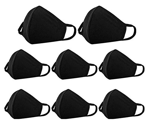 8 Pack Cotton Face Cover Washable and Reusable - Black Mouth Protection Unisex Fashion Dust Covering with Nose Bridge Wire - Soft Comfy Fabric for Women and Men Outdoor