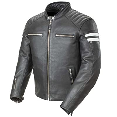 Joe Rocket 1326-1003 Classic '92 Men's Leather Motorcycle Jacket (Black/White, Medium)