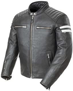 Joe Rocket 1326-1004 Classic '92 Men's Leather Motorcycle Jacket (Black/White, Large)