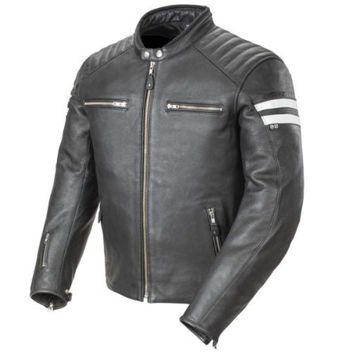 Joe Rocket 1326-1004 Classic '92 Men's Leather Motorcycle Jacket (Black/White, Large)