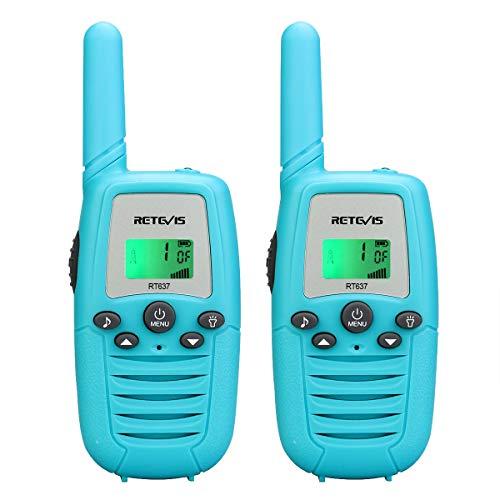 Retevis RT637 Walkie Talkie Niños 16 Canales PMR446 Linterna VOX Walkie Talkie para Niños Operación Fácil Juguete de Regalo para Niños Walkie Talkies Infantiles (Azul, 1 par)