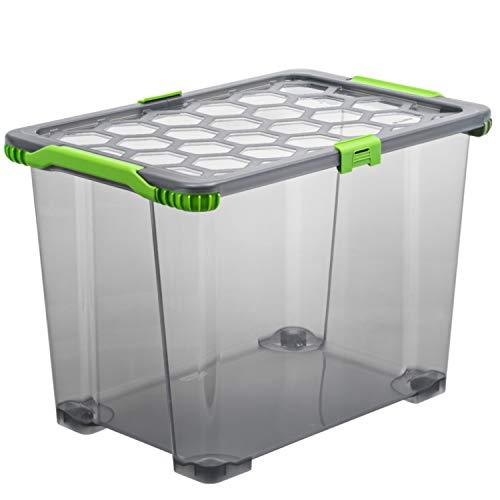 Rotho Evo Total Protection Aufbewahrungsbox 65l mit Deckel und Rädern, Kunststoff (lebensmittelecht) BPA-frei, anthrazit/transparent, 65l (59,0 x 39,5 x 41,2 cm)
