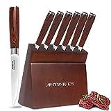 Navaja de carne de 6 piezas, cuchillo de mesa ultra afilado, hoja dentada, acero inoxidable alemán, mango de madera, bloque de cuchillos de madera, Antiline