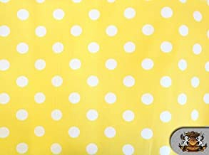Polycotton Printed POLKA DOTS WHITE YELLOW BACKGROUND Fabric By the Yard