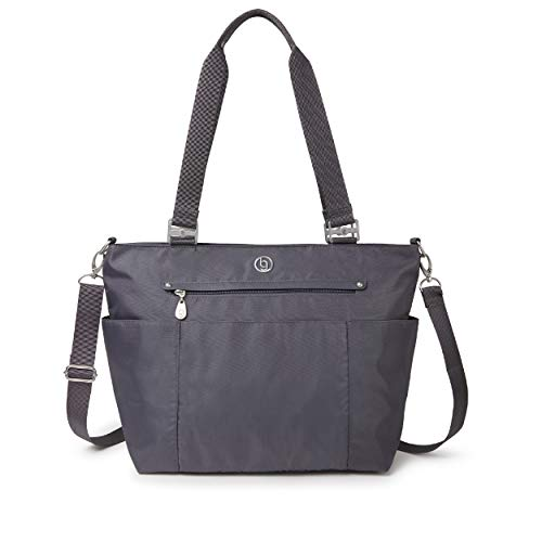 BG by Baggallini Austin Tote - Lightweight, Water Resistant, Carry-On Travel Purse With Zippered Pockets, Adjustable Strap, and Luggage Sleeve, Shadow Gray