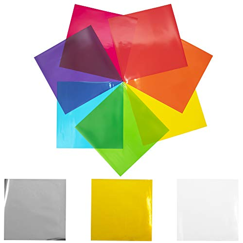 120 pcs Cello Sheets 8 x 8 in (10 Colors Silver & Gold Included) - Colored Cellophane Sheets - Colored Cellophane Wrap - Colored Transparency Sheets - Colored Saran Wrap - Cellophane Paper Wrapping