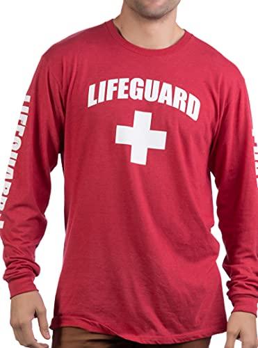 Lifeguard   Red Guard Unisex Uniform Costume Long Sleeve T-Shirt for Men Women - Red, M