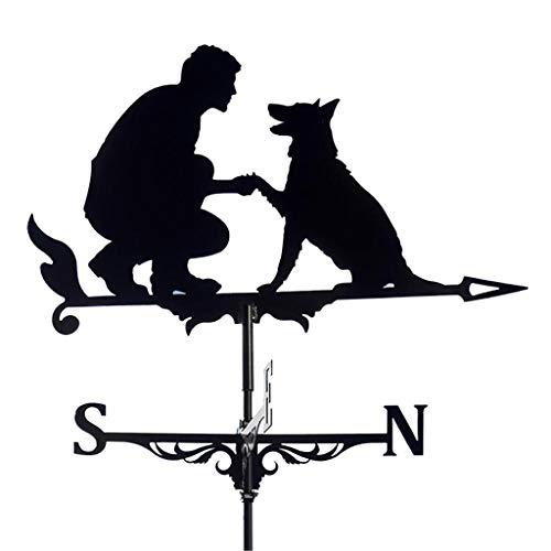 YIWOYI Wetterfahne aus Metall, Huhn, Garten-Ornamente, Deluxe-Wetterfahne mit Hund, Pferd