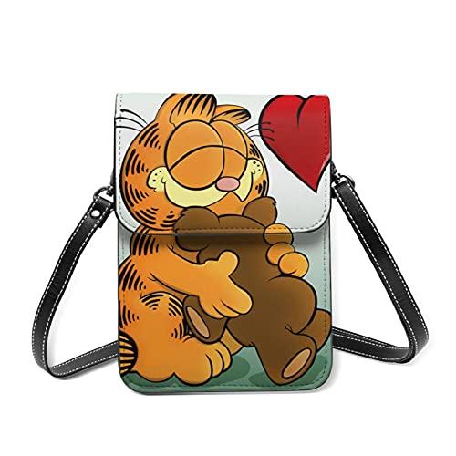 Garfield - Monedero de piel con ranura para tarjeta con correa de hombro desmontable para niña y adolescente