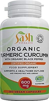 Organic Turmeric Curcumin 600mg Serving with Organic Black Pepper | 120 Vegan Capsules | High Potency Antioxidant & Absorption | Certified Organic Supplement – UK Made Sash Vitality