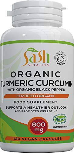 Organic Turmeric Curcumin 1800mg High Strength Serving with Organic Black Pepper | 120 Vegan Capsules | High Potency Antioxidant & Absorption | Certified Organic Supplement – UK Made Sash Vitality