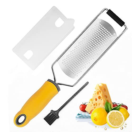 BeBeeDay Grattugia per Formaggio Limone Zester in Acciaio Inox, Grattugia da Cucina per Agrumi, Zenzero, Cioccolato, Noci (Giallo Grattugia per Formaggio)