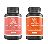 Health Logics Black Seed Oil Softgels and Health Logics Ultra Immune Boost- Featuring Cold Pressed Nigella Sativa, Vitamin C, Vitamin D, Zinc, Elderberry Extract, Echinacea, Lysine, Reishi Mushroom