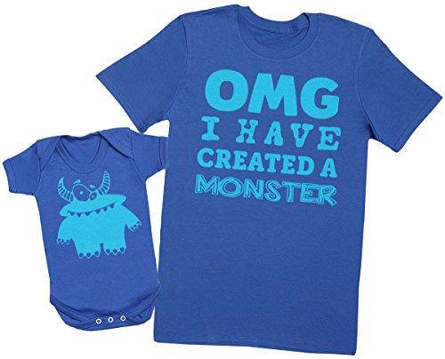 OMG I've Created a Azul Monster! - Regalo para Padres y bebés en un Cuerpo para bebés y una Camiseta de Hombre a Juego - Azul - Medium & 0-3 Meses