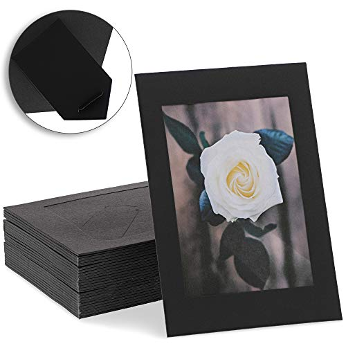 Juvale Caballete de cartón para Marcos de Fotos (50 Unidades), 10 x 15 cm, Color Negro