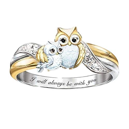 FZAI Owl Ring for Girls Women, Engraved I Will Always be with You, Animal Rings Owl Lover Jewelry Wedding Engagement Party Halloween Christmas Decoration Size 5-10