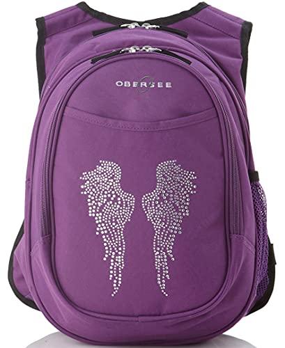 Obersee Kid's All-in-One Pre-School Backpacks with Integrated Cooler, Rhinestone Angel Wings