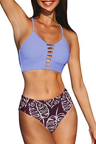CUPSHE Damen Bikini Set mit Zierriemen Cut-Out Bademode Zweiteiliger Badeanzug Purple XS