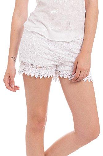 Abbino 160614KH Kurze Hose Short Damen - Made in Italy - 7 Farben - Sexy Umhang Elegant Sale Modisch Komfortabel Junge Schöner Mode Trend Damenshorts Übergang Herbst Winter Charme - Weiß