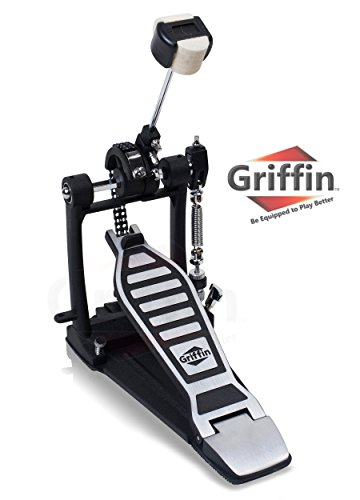 Single Kick Bass Drum Pedal by Griffin|Deluxe Double Chain Foot Percussion Hardware for Intense Play|4 Sided Beater and Fully Adjustable Power Cam System|Perfect for Beginner and Experienced Drummers