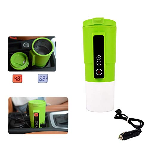 Smart Temperature Control Travel Coffee Mug GEEZO Electric heated Travel Mug 12V Stainless Steel Tumbler Smart Heating Car Cup Keep Milk Warm LCD display Easily Washing Safe for use (Green)