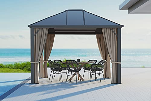 OUTFLEXX hochwertiger Hardtop Pavillon in grau, solides Aluminiumgestell mit Dach aus Polycarbonatplatten, 3x3,6 m, Seitenteile aus braunem Polyester, Insektenschutz, korrosionsbeständig, wetterfest