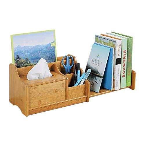 KGDC Salón Librerías Oficial de Escritorio Ajustable Organizador de Escritorio con cajones Bamboo Wood Desktop Booktop Suministros de Oficina Mostrar estantes (Natural) Librería Estantería