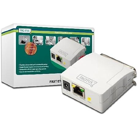 Digitus Fast Ethernet Printserver Mit Parallel Port 1x Rj45 1x Db 36 Pin Male Drucker Server Dhcp Fähig Tcp Ip Einfache Installation Inkl Netzteil Weiß Baumarkt