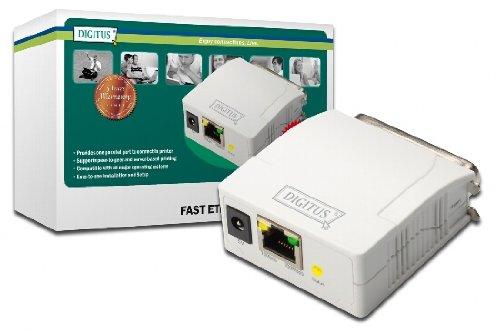 DIGITUS Fast Ethernet Printserver mit Parallel-Port, 1x RJ45, 1x DB-36-pin male, Drucker Server, DHCP fähig, TCP/IP, Einfache Installation, inkl. Netzteil, Weiß